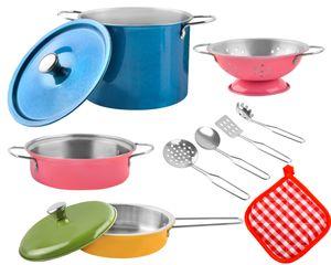 Kinder Kochgeschirr 2 Varianten Bunt/Metall Topfset Topf und Pfannen 8246, Farbe:Bunt