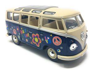 Modellauto VW T1 Samba Bus Flower Power 1962  blau / beige Volkswagen Bulli 1:24