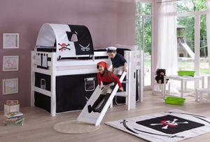 Relita - Spielbett Eliyas mit Rutsche und Textilset Vorhang, 1-er Tunnel und Tasche