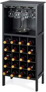Goplus Flaschenregal Weinregal Flaschenstaender Weinschrank Weinstaender aus Holz,mit 20 Staufaechern