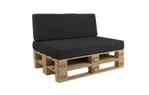 POKAR Palettenkissen mit abnehmbarem Bezug Palettensofa, Größe:Set Sitzkissen 120x80 + Rückenkissen 120x40, Farbe:Anthrazit