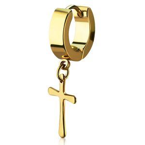 Damen Creole Kreole Klappcreole Edelstahl Kreuz Anhänger Helix Huggie Ohr-Piercing Autiga®