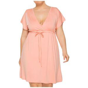Frauen Plus Size Sexy einfarbiges Kurzarm-Kleid mit tiefem V-Ausschnitt Größe:XXXXL,Farbe:Rosa
