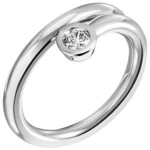 Solitär Ring Damenring mit Zirkonia weiß 925 Silber spiralförmig schlicht, Ringgröße:Innenumfang 60mm  Ø19.1mm