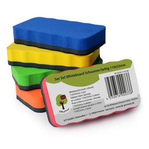 OfficeTree 5er-Set Whiteboard-Schwamm - 110 x 52mm - 5 Farben - magnetisch