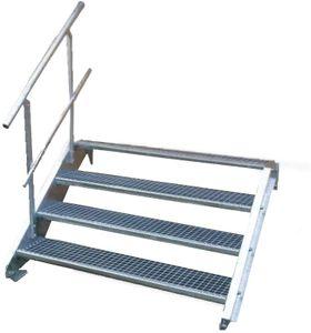 Stahltreppe 4 Stufen-Breite 70cm Variable-Höhe 55-85cm mit einseit. Geländer