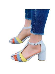 Damen High Heels Outdoor Casual Open Toe Schuhe Mode Schnalle Sandalen,Farbe:Beige,Größe:35