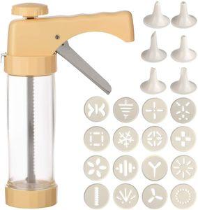 Gebäckpresse Plätzchenpresse und Garnierspritze Gebäckspritze Backzubehör für Kräcker mit 16 Schablonen und 6 Tüllen