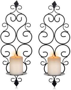 Wandkerzenhalter Wandleuchter Kerzenständer Kerzenhalter Kerzenleuchter aus Metall 2er Set Schwarz