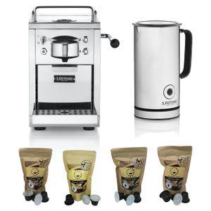 Sjöstrand Espresso-Kapselmaschine, kompatibel mit dem Nespresso®-System inkl. Milchaufschäumer und 100 Kapseln Probierpaket