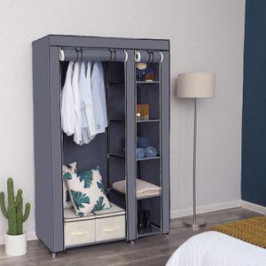 XL Kleiderschrank mit Stange Stoffschrank mit 2 Türen 175 x 110 x 45 cm Faltschrank aus Vlies Gewebe SONGMICS Grau LSF007G