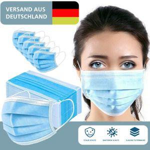 50x Mundschutz 3-lagig Atemschutz Maske Mundschutzmaske Hygienemaske Behelfsmaske Filtermaske Einwegmaske