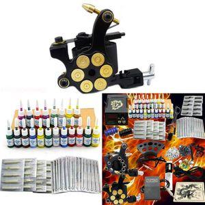 Tätowierung Komplett Set Kit 2 TattooMaschine Netzgerät 20 Farben Nadeln Tätowiermaschine Komplettset Tattoo set Gun Machine Grip Netzgerät