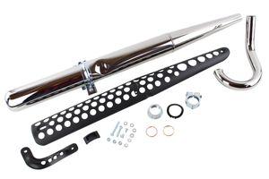 SET: Auspuff Tuning Ø 32mm mit originalen Gegenkonus inklusive Krümmer, Halter, Hitzeschutz und Montageteile für Simson S50 S51 S70 S83 Enduro