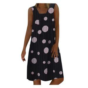 Frauen Plus Size Wave Point Print Täglich lässig ärmelloses Vintage böhmisches Kleid Größe:M,Farbe:Schwarz