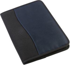 Konferenzmappe Schreibmappe DIN-A4 + Schreibblock u Reissverschluss blau schwarz