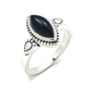 Onyx Ring 925 Silber Sterlingsilber Damenring schwarz (MRI 134-03),  Ringgröße:60 mm / Ø 19.1 mm