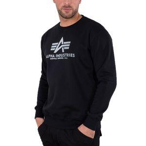 ALPHA INDUSTRIES Basic Sweater Herren Sweatshirt Pullover Sweater Schwarz, Größe:XL