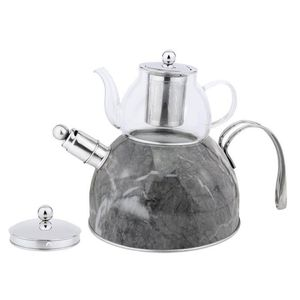 Zellerfeld Trendmax Düdüklü Caydanlik Takimi Teekocher 3 Liter + 600ml Teekanne aus Glas 18/10 Edelstahl Dampf-Pfeife mit Henkel Motiv 2