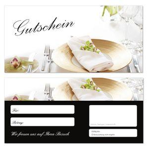 50 Stück Geschenkgutscheine (Tischgedeck-685) Gutscheine Gutscheinkarten für Gastronomie Bereiche wie Restaurant Gaststätte Lieferdienst