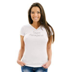 Edles Luxus Damen Shirt - TEAM MANAGERIN - T-Shirt veredelt mit original Kristallen von Swarovski® mit V-Ausschnitt, Farbe: Weiß, Größe: S