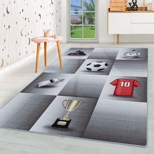 Kurzflor Kinderteppich Kinderzimmer Teppich Spiel Fussball Trikot Pokal Grau, Farbe:Grau, Grösse:140x200 cm