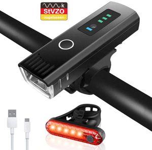 Fahrradlicht LED Set - USB Wiederaufladbare Fahrradlichter Fahrradlampe mit Automatischem Lichtsensor - StVZO Zugelassen Wasserdicht Frontlicht Rücklicht Fahrradbeleuchtung