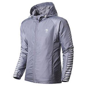 Frühling / Herbst-Mann-Sport-Jacke Laufen windundurchlässiges Jogging Mantel gestreifter Pullover -(Grau,S)