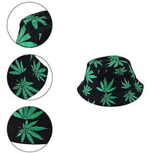 Fischerhüte Fischerhut Uni Sonnenhut Bucket Hat Fischerhut Cannabis Muster Mütze Fischerhut Kopfumfang ca. 58cm