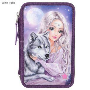 Depesche 10849 FANTASYModel 3-Fach Federtasche Mädchen & Wolf mit LED