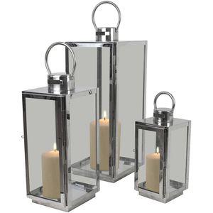 3tlg. Laternen-Set H56/42/30cm - Silber