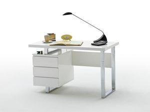 Schreibtisch Sydney Hochglanz Weiß lackiert Schreibtisch
