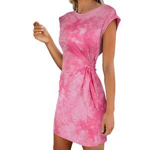 Damenmode Rundhalsausschnitt Tie-Dye Leopardenmuster Ärmellose Krawatte Kurzes Kleid Größe:XL,Farbe:Rosa