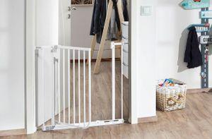 IMPAG® Schutzgitter EASY STEP | 62-71 cm anthrazit | Treppenschutzgitter| Türschutzgitter |ohne Bohren | Automatik-Tür | 90° Feststell-Funktion | Öffnet in Laufrichtung