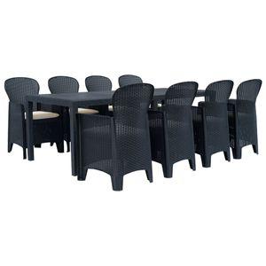Gartenmöbel Essgruppe 8 Personen ,9-TLG. Terrassenmöbel Balkonset Sitzgruppe: Tisch mit 8 Stühle Kunststoff Anthrazit Rattan-Optik❀8340