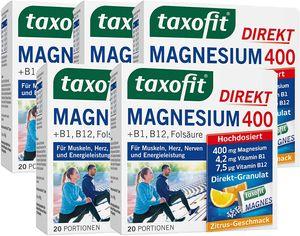 taxofit Magnesium 400 Direkt Granulat Muskeln Herz Nerven 100 Stück PZN 2597700
