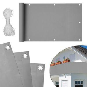 LZQ 90x600cm PVC Balkon Sichtschutz Hellgrau Balkonbespannung Balkonverkleidung, Balkonsichtschutz Windschutz wasserdicht Blickdicht