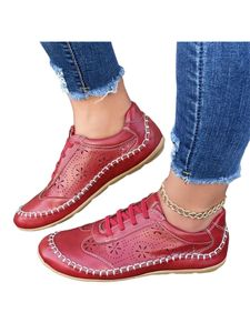 Damenmode Freizeitschuhe Flache Mules Sneakers Round Toe Loafers,Farbe: rot,Größe:42