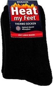 Brubaker 2 Paar Heat my Feet Unisex Thermo Socken Schwarz Größe 43-46