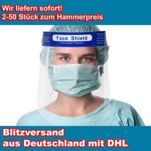 Faceshield Gesichtsschutz Face Shield Gesichtsmaske Schutzvisier Visier   klares PET Gesichtsvisier mit Kopfhalterung, Menge:2 Stück