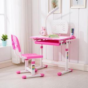 Kinderschreibtisch Schülerschreibtisch Schreibtisch einstellbar mit Stuhl & Lampe Pink Rosa