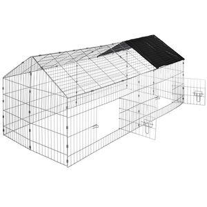 tectake Freigehege Kaninchen inkl. Sonnenschutz 180 x 75 x 75 cm - schwarz
