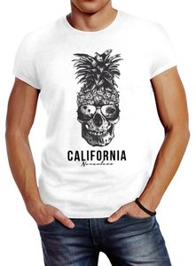 Cooles Herren T-Shirt Pineapple Skull Sonnenbrille Ananas Totenkopf Slim Fit Neverless® weiß 3XL