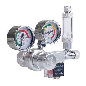 12V Ausgangsspannung Aquarium CO2-Regler CO2-Druckregler mit Magnetspule Grosses Doppelmanometer Blasenzaehler & Rueckschlagventil fuer CO2-Aluminiumzylinder W21.8-Schnittstelle