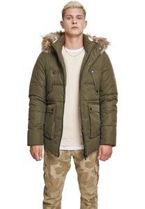 Urban Classics Faux Fur Hooded Jacket TB2430, color:darkolive, groesse herren:L
