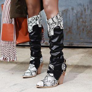 Damen Snake Print Leder Kniehohe Schnalle High Heel Schuhe Cowboy Knigh Stiefel Größe:41,Farbe:Schwarz