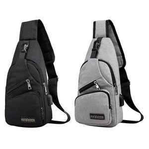 2pcs Sling Rucksack Herren Brusttasche Schultertasche Crossbody Umhängetasche Sporttasche Bag mit USB-Ladeanschluss