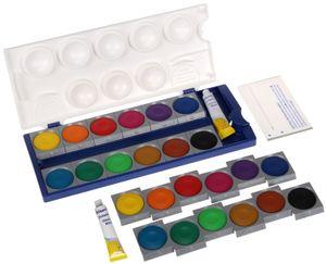 Pelikan Deckfarbkasten Schul Standard K12 12 Farben inkl. 7,5 ml Deckweiß + 12 Stück Pelikan Ersatz-Farben + 1 x Pelikan Ersatz Deckweiss