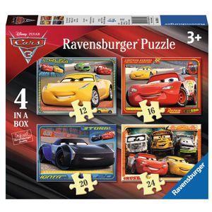 """Ravensburger 6894 Puzzle """"Disney Pixar Cars 3"""", 4 Puzzles in einer Schachtel, mit jeweils 12, 16, 20 und 24 Teilen"""