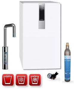 Einbau-Tafelwasseranlage BLACK & WHITE HOT DIAMOND (Option CO2 Eigentumsflasche: 425g CO2 Zylinder / Armatur: U-Auslauf / Farbe: weiß)